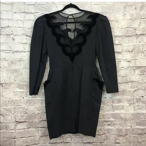 Isabel Allard 1980s Velvet Trim Puff Sleeve Dress